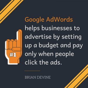 Google AdWords helps businesses to advertise by setting up a budget and pay only when people click the ads.